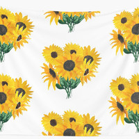 'Painted sunflower bouquet' Wall Tapestry by Ilze Lucero