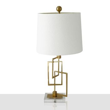 Creative Simple Crystal Table Lamp With Fabric Shade