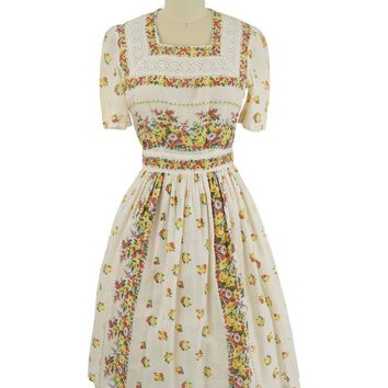40s Feminine Floral Lace Trim Dress-S
