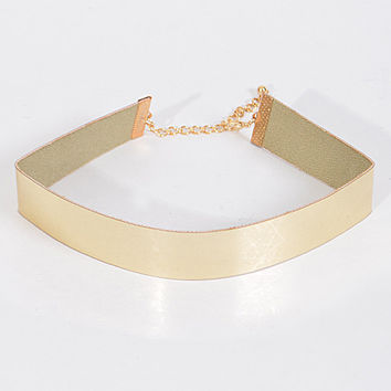 "15"" gold shiny choker necklace .75"" wide"