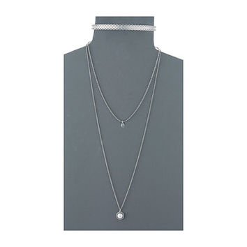 Lucky Brand Hard Choker & Pendant Set Necklace