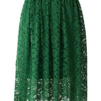 Emerald Green Full Lace Midi Skirt Green