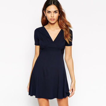 Summer Deep V Short Sleeve Slim One Piece Dress [5024203908]