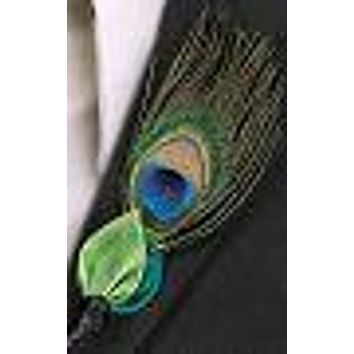 Peacock Feather Groom Boutonniere