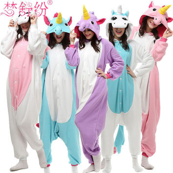 2017 Unicorn Pajamas Adult Kids Warm Flannel Siamese Cartoon Autumn Winter Pajamas Family Fitted Animal Pajamas for women men
