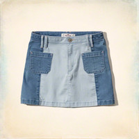 Colorblock Denim A-line Skirt
