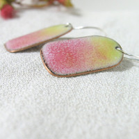 Enamel earrings yellow pink dangle drop summer fashion by Alery bioteam