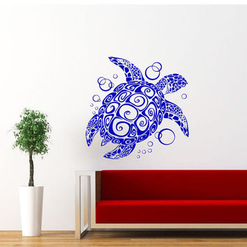 Sea Turtle Wall Decal Ocean Sea Animals Decals Wall Vinyl Sticker Interior Home Decor Family Art Wall Decor Bedroom Bathroom Mural SV5868