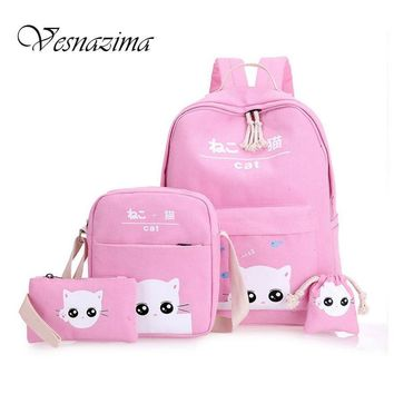 VESNAZIMA cartoon printing backpacks for girls school bag picnic bags for kids backpack lovely cats rucksack pink mint WM111YL