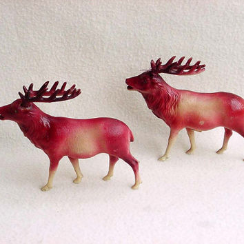 "Pair Celluloid Christmas Reindeer Nativity Set Putz Scene Japan Stag 1940s Vintage Santa's Deer Rhinestone Eyes 5"" Tall 6"" Long Brown Cream"