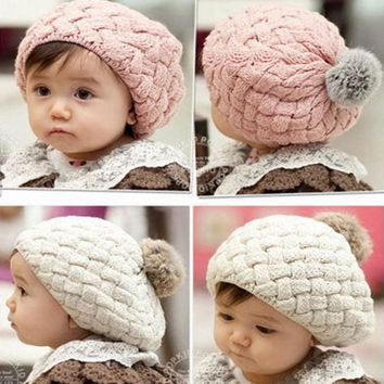 Lowest Price!New Kid Hat Baby Handmade Knit Crochet Baby Beret Girl Cap Baby Hat For Child Cute Warm Kid Beanie Free Shipping