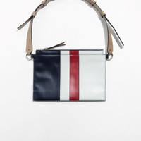 & Other Stories | Leather Paneling Flat Crossover And Belt Bag | Blue Dark