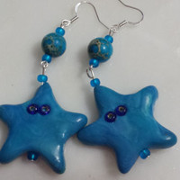 Earrings Star Blue Starfish Clay Dangle Earrings Blue Beach Starfish Handmade Polymer Clay Dangle One Of A Kind Earrings