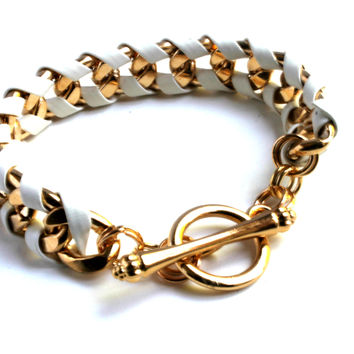 """""""Wrapped Up In You"""" Gold Link Chain Bracelet With Faux Leather Trim"""