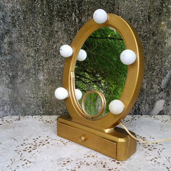 Fifties Lighted Makeup Mirror Femme Lite Flip Mirror by Rialto Old Hollywood Decor