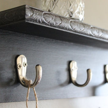 Decorative wall shelf, key holder, black and silver wall decor