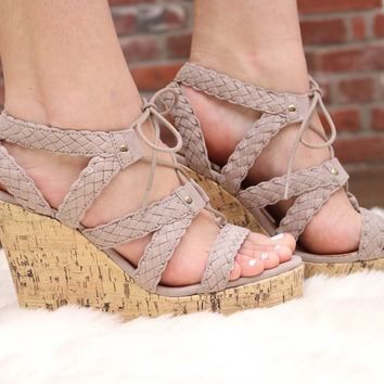 Taupe Open Toe Lace Up Cork Wedge