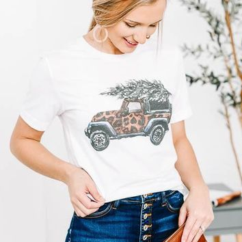 Leopard Printed Jeep With Christmas Tree Graphic Tee