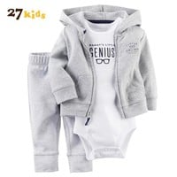 27Kids 3Pcs/Lot Baby boy Clothes Set New Born Romper Costume For Kids girl Clothes Hooded Baby's Clothes Cotton Long Sleeve Suit