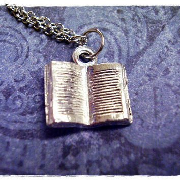 Tiny Open Book 3D Charm Necklace in Silver by EvelynMaeCreations