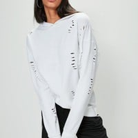 Missguided - White Distressed Oversized Hoodie