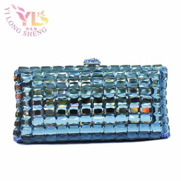 Lake Blue Diamond Womens HandBags Designers Event Women Bag Wristlets Clutches Crystal Evening Clutch Bags YLS-G70