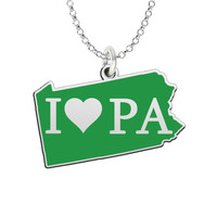 I Love Pennsylvania Sterling Silver State Shape Necklace