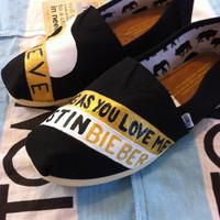 Custom Hand Painted Justin Bieber Toms