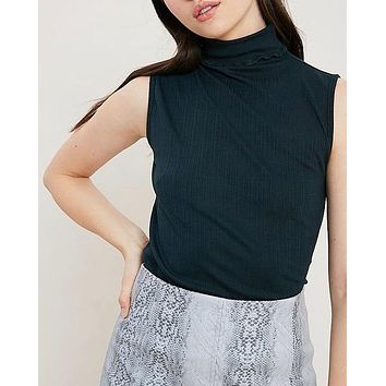 sleeveless ribbed turtle neck knit top - dark forest green