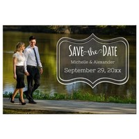 Contemporary Chalkboard Save The Date Photo Post Card