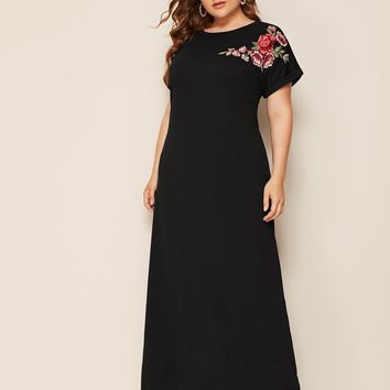 Plus Floral Embroidered Maxi Dress