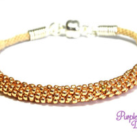 MAGNOLIA Beaded Kumihimo Bracelet, Braided Rope Bracelet with Seed Beads - Rose gold