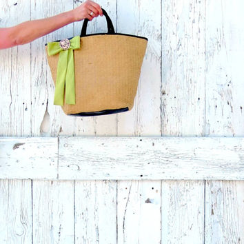 Straw Market Bag- upcycled woven summer purse- indie fashion beach bag- farmers market tote- natural large purse