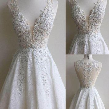 White Deep V Neck Lace Beadings Homecoming Dresses