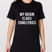 American Apparel My Brain Is 80% Song Lyrics Soft Unisex Fine Jersey Tshirt, Unisex Tshirt, Soft Tee, Womens Graphic Tee, Mens Graphic Tee