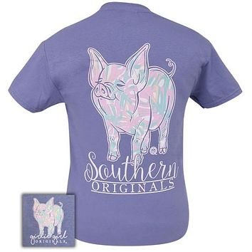 Girlie Girl Originals Southern Preppy Pastel Pig Violet T-Shirt