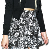 Iron Fist Patch Me Up Skater Skirt Black