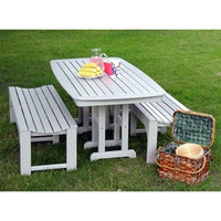Recycled Plastic Outdoor Bench and Table Set by Polywood