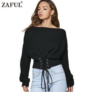 ZAFUL Lace up warm knitted pullover sweater Women black waistband long sleeve jumper Autumn winter 2018 new knitting pull femme