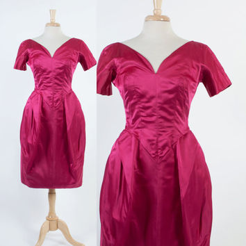 Rare 50s JOBERE Magenta SILK DRESS / Vintage 1950s Tulip Skirt Designer Cocktail Dress