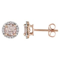 10K Pink Gold Diamond and 1ct Morganite Earrings