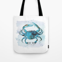 blue crab Tote Bag by Sylvia Cook Photography