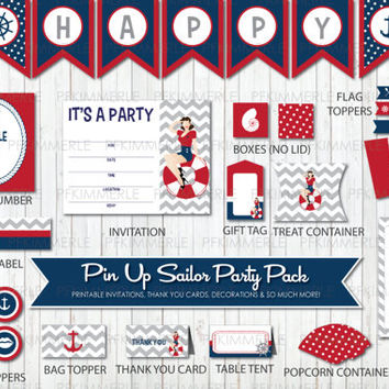 Pin Up Sailor Themed Printable Party Pack,Red, Navy, Chevron, Polka Dots, Nautical, Anchor, Birthday Party Decorations, DIY Party