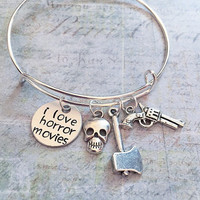 "I Love Horror Movies Expandable Bracelet FIT WRIST SIZE 7.0"" to 8.5"" , Fandom Jewelry, Horror Movies Jewelry, Slasher Movies Jewelry, Ghost"