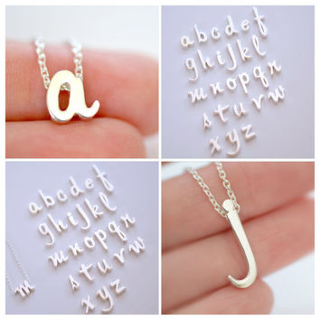 Sterling Silver Script Initial Necklace - Alphabet Initial Necklace - Initial Charm Necklace - Minimal Necklace - Dainty Necklace
