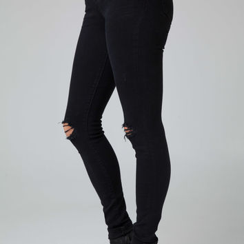 J Brand 620 Mid-Rise Super Skinny Jeans in Blackout