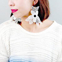floral lace earrings - white large flower earrings -modern art deco retro -  wedding party accessory jewelry gift
