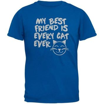 DCCKJY1 My Best Friend Is Every Cat Ever Blue Adult T-Shirt