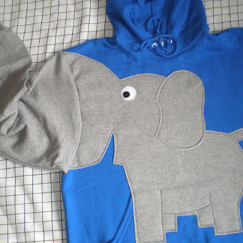 Elephant Sweatshirt trunk sleeve Elephant HOODIE sweater jumper Royal Blue Adult Large