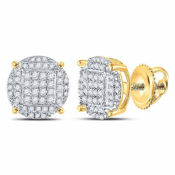 Yellow-tone Sterling Silver Womens Round Diamond Circle Cluster Earrings 3/8 Cttw